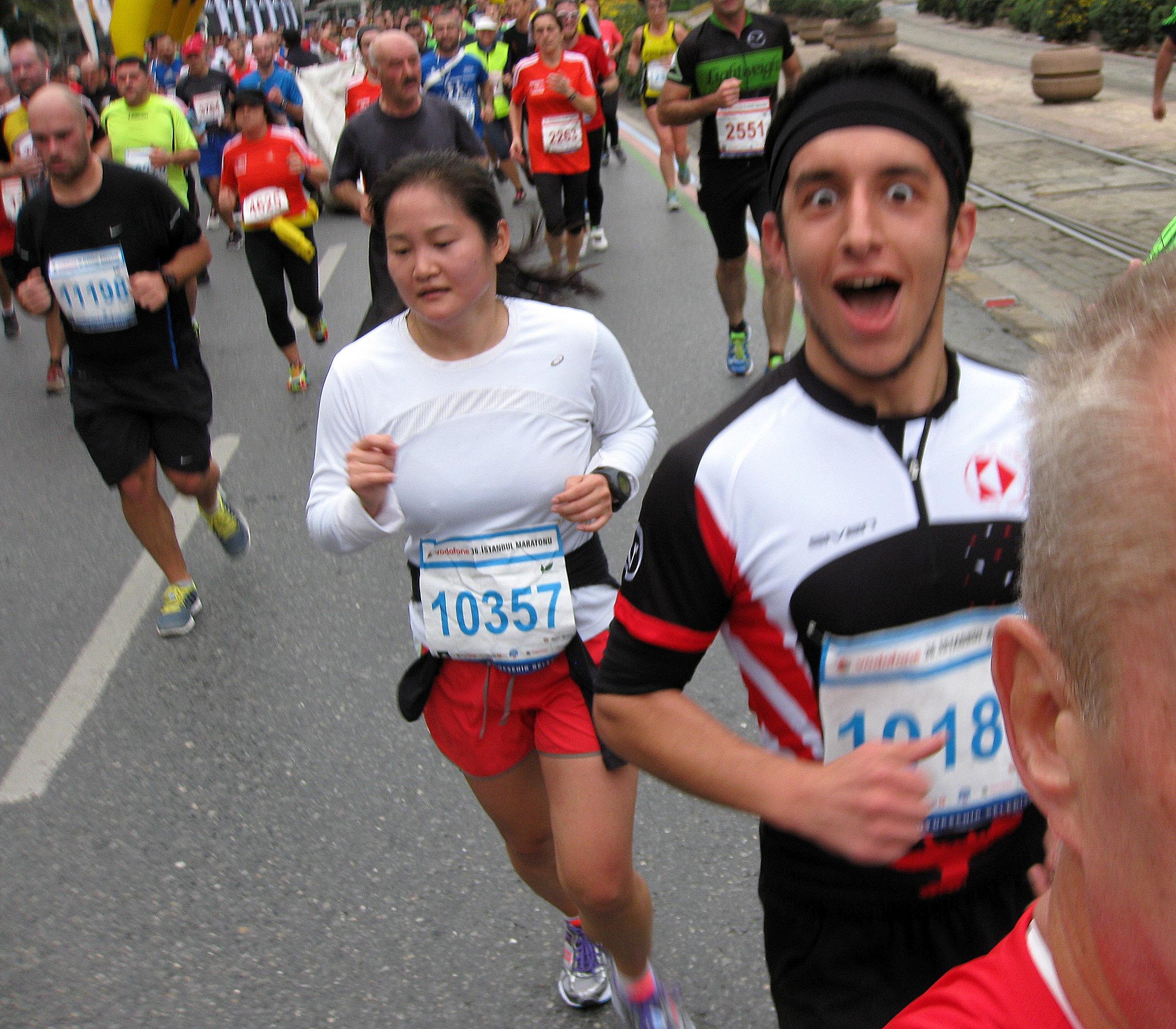 Blåt nummer 15km, rødt marathon, grøn 10 km